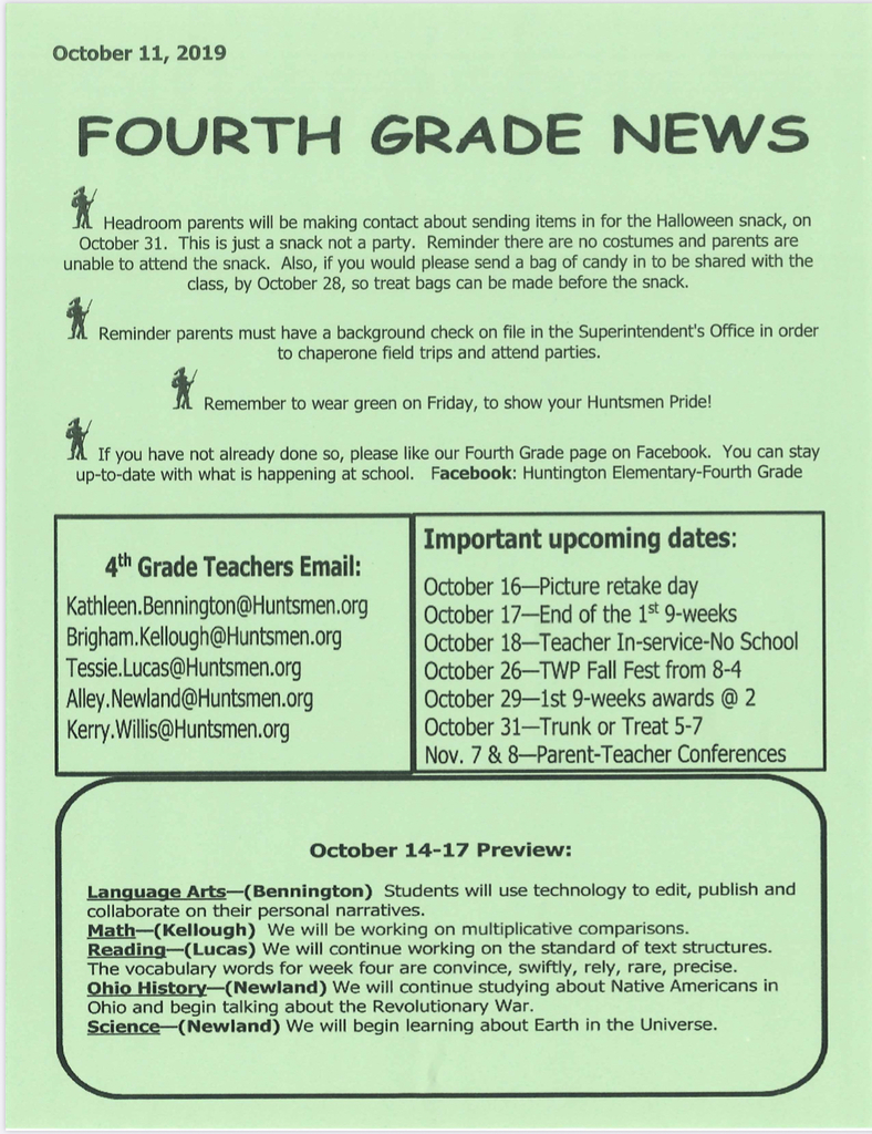 Fourth Grade Newsletter